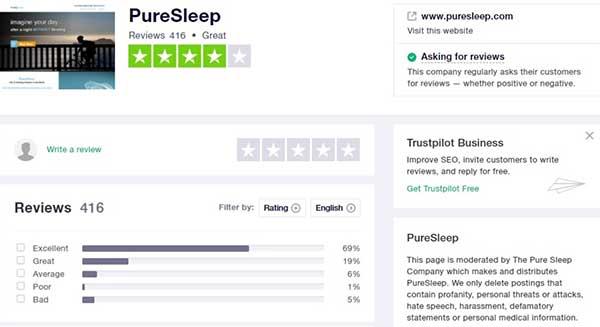 PureSleep on Trustpilot