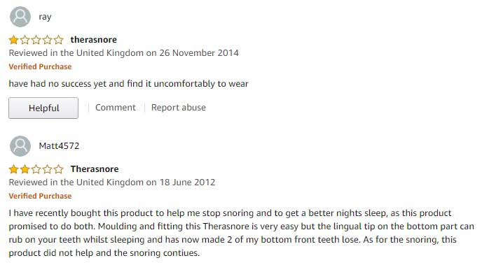 Amazon reviews for Therasnore complaining that the device is hard on the gums and causes soreness