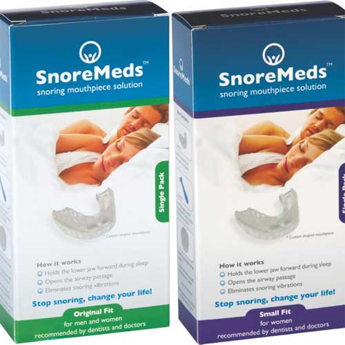 SnoreMeds packaging original fit and small fit
